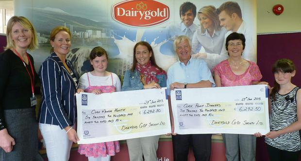 Staff of Dairygold present cheques to Cork Mental Health and Cork Penny Dinners.