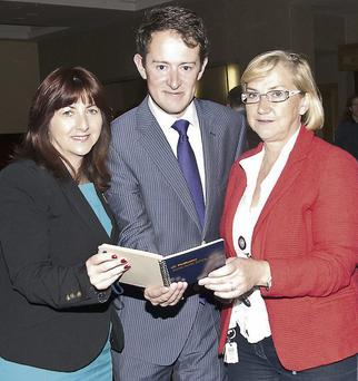 Left to right: Joan Kelleher, Business Development Executive, North Cork Enterprise Board; Minister Sean Sherlock; and Maura Hunter, MH Designs, Mallow