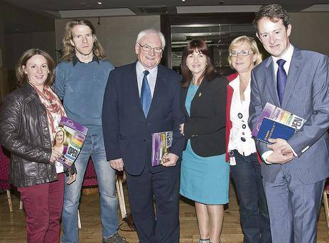 Minister Sean Sherlock, Cllr Dan Joe Fitzgerald, Joan Kellerher, John Hootan, Maura Hunt and Triona Fitzgerald at the launch of the NCBA magazine