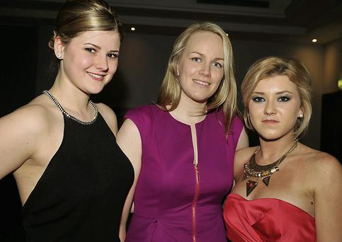 Alexandra Brandt, Niamh O'Sullivan and Marie Corkery enjoying the evening at Oriel House Hotel.