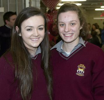 Cousins Shauna and Erica O'Connell from Davis College, Mallow, at the Live Life Love Day at the IT Tralee.