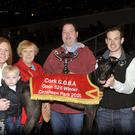 David Burke making a presentation to Breda O'Neill, Castletownroche, following the John Geoghegan owned, Lefanta Sky's win in the Cork GOBA Open 525 at Curraheen Park. Included are Tom O'Neill Jnr., Margaret and Cian O'Donovan.