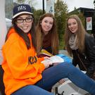 Laura Hanover, BIS with Rebekah O'Connell and Kate Cooke, Charleville at the Business Information Systems (BIS) information stand at UCC Open Day on Saturday, October 10th