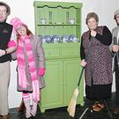 Joe O'Flynn (Martin), Lindsey Cott (Cora), Celine Hayes (Madge Molloy) and Ger O'Brien (Tom Molloy) pictured on the set of 'It's the Real McCoy', the brand new production from Castlemagner Drama Group which is currently running in the local Community Centre