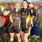 Mourneabbey players, Kathryn Coackley and Anne Marie Ruby, celebrate at the final whistle after reaching the Senior Club All Ireland Final
