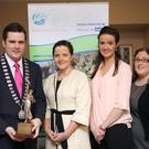 Awbeg Macra na Feirme, Co Cork, who were runners up in the Macra na Feirme Team Public Speaking competition at the Gleneagle Hotel, Killarney on Saturday night, from left, Seán Finan, Macra na Feirme National President, Mags Leamy, Breda O'Keeffe, Breda Forrest