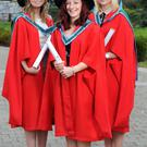 Pictured at the UCC Spring Conferrings were Kiera Murphy from Ballincollig; Amy O'Callaghan from Glasheen and Karen McCarthy from Blarney who graduated as Doctors of Microbiology