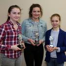 Winners in the U15 category in the Fiddle Competition at the Maurice O'Keeffe Festival in Kiskeam were: Leah Murphy, Rathcoole, First Place; Anna Buckley, Rathcoole, Second; and Maebh Ní Chonaill, Kilnamartyra, Third. Photo: Sheila Fitzgerald