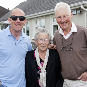 Barney Queally and his mother Anne with Pat O'Shea at the summer Mass at O'Shea's, Fortlands, Charleville
