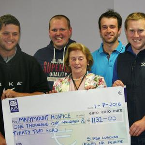 Donal O'Sullivan, Tadhg O'Connor, Eoin Dennehy, David Fleming, Eoin McCarthy and Miriam McCarthy of Sliabh Luachra Macra na Feirme making a presentation of €1,132 to Cait McCarthy of Marymount Hospice, proceeds from their annual St. Stephen's Day walk to the source of the river Blackwater