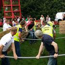 Action from the 'Human Foosball' event organised by Banteer Macra at the Banteer Show on Sunday last