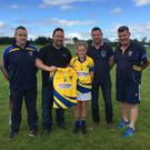Brendan Creed of Direct Tyres (Newberry) presenting Kilshannig Ladies U10s with a new set of Kukri match jerseys. Included in the photo with the team are trainers Tim Ring and Dominic Jenks, mentors Michelle McCarthy and Lisa Lucey, and club chairperson Pascal Ring. Player Kayeigh Savage is receiving the jersey on behalf of the team