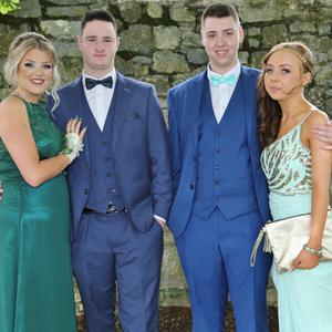 Doneraile Brother and Sister Debs Emily and Jamie O' Sullivan with William Reynolds, Mallow, and Rebecca O' Driscoll, Kanturk, at the Nagle Rice Secondary School Doneraile Debs