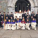 The Ballingeary Pipe Band with Cardinal Sean Brady, Bishop John Buckley, Fr Martin O' Driscoll, the Altar Servers and the various priests who concelebrated the mass on the occasion of Gougane Sunday