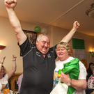 Jim and Liz Linehan celebrate their daughter Noelle's bronze medal at the Rio Paralympics, in Collins' Bar, Milford recently
