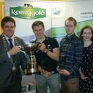 Members of Freemount Macra Thomas Stritch, Michael Curtin, Michael Curtin Murphy and Louise Bourke who won the National Final of Club Question time pictured with Macra President Sean Finan
