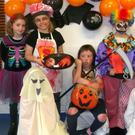 Third and Fourth Class Girls getting into the spirit of things during the Hallowe'en Party at Lismire National School
