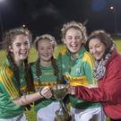 Ellen Deely, Kelly Ann Mulcahy, Laura Carroll, Patricia Curtin celebrate St Peter's win in the Ladies Minor County Final