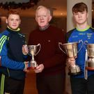 Pictured at the Rebel Óg Monthly Awards were Kevin Cummins, Cummins Sports award sponsor presenting awards to Kilshannig's Jack Kearney, Minor Football Captain, with Adam Sheehan, U16 Hurling Captain and Bill Curtin, U16 Football Captain