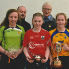 Pictured at the Munster Open Juvenile Handball Tournaments in Liscarroll were Girls 13+U Finalists: front - Clodagh Munroe, Carrigmore; Sarah Walsh, Mallow; Chloe Philpott, Kilkishen (winner); Aine Duggan, Galmoy; back - Ger Healy; Willie Roche, GAA Handball Council President; Tim Healy