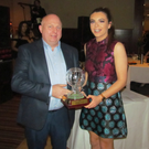 Kevin Creedon presents the Kathleen Creedon award to Aisling O'Sullivan at the Mourneabbey Ladies Football social on Saturday night last in the Hibernian Hotel