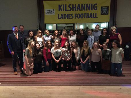 The Kilshannig Ladies Under 16s team celebrating their North Cork win at the recent social