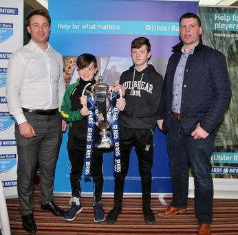 Jack and Gavin McCarthy, Lombardstown, met Irish Rugby legends Denis Leamy and Luke Fitzgerald during their visit to the Hibernian Hotel, Mallow, as part of the RBS Six Nations Trophy Tour