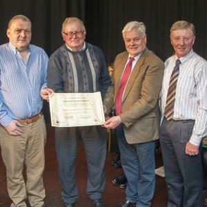 Conor Neligan, Cork County Council heritage officer, Cllr Bernard Moynihan, John Nolan, Rockchapel Development Association, Cllr Frank o'Flynn, Donal Murphy, John Buckley and Dan Rahilly, members of the Rockchapel 1916 organising committee, at a presentation of a certificate from Cork County Council in Bruach na Carraige, Rockchapel. Photo: Neily Curtin