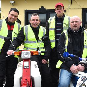 Bertie Hawe, Evan Burton, Ray O'Connor and Gary Morrison, Liscarroll, participating in the Annual Honda 50 Charity Run from the Old Killarney Inn, Aghadoe, Killarney. Photo by Michelle Cooper Galvin