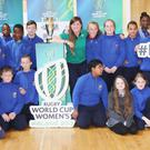 5th Class pupils at Scoil Ghobnatan, Mallow, were delighted to meet Anna Caplice during the Women's Rugby Cup Trophy Tour visit to the school