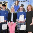 Ciarán Collier and Stephanie Kearney who received the Canon Michael Harrington Award for Outstanding Effort at Coláiste Mhuire, Buttevant are pictured with School Principal Donal O'Sullivan, guest of honour Sinead Kane, Deputy Principal Carol O'Mahony and Canon Michael Harrington. Photo by Sheila Fitzgerald