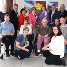The group of participating artists from the Gilbert Centre Mallow who staged an art exhibition entitled Movement at the Charleville Park Hotel, are pictured with Monica Gilmore (front left) of the Charleville Park Hotel
