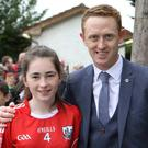 Siobhan Sheehan, Killavullen meeting Kerry football legend Colm Cooper at the Cork v Tipperary match at Pairc Ui Rinn