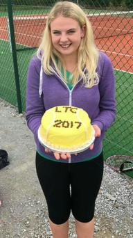 Sarah Tarrant with a fab cake celebrating a very successful Lombardstown Tennis Camp this week