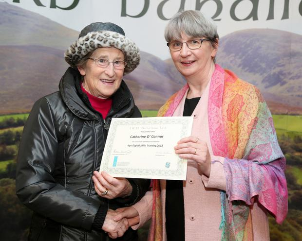 Catherine O' Connor who graduated in Agri Digital Skills Training was presented with her Certificate by Chairperson Mary Wallace at the IRD Duhallow Recognition of Learning Ceremony