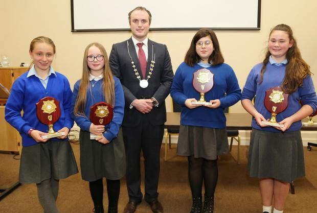 Councillor Gearóid Murphy presented plaques to Convent Primary School pupils Amy Linehan, Gabija Vasiliauskaite, Shakira O'Connor and Eva Farrissey, who took part in the IRD Duhallow Primary Schools Public Speaking Competition