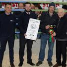 John O'Connor, Kiskeam, won the Best Pen of Heifers Award at the Kanturk Mart Fat Stock Show and Sale. Included are Mart Chairman John Cott, Martin Lyons and Kevin Roche of Kanturk Credit Union (prize sponsors), and judges Shane Healy, Maurice Cogan and Michael Reidy