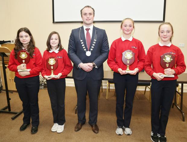 Councillor Gearóid Murphy presented plaques to Newmarket Girls School pupils Lexi Guiney, Ella Saville, Kate O'Connor and Kate Angland, who took part in the IRD Duhallow Primary Schools Public Speaking Competition