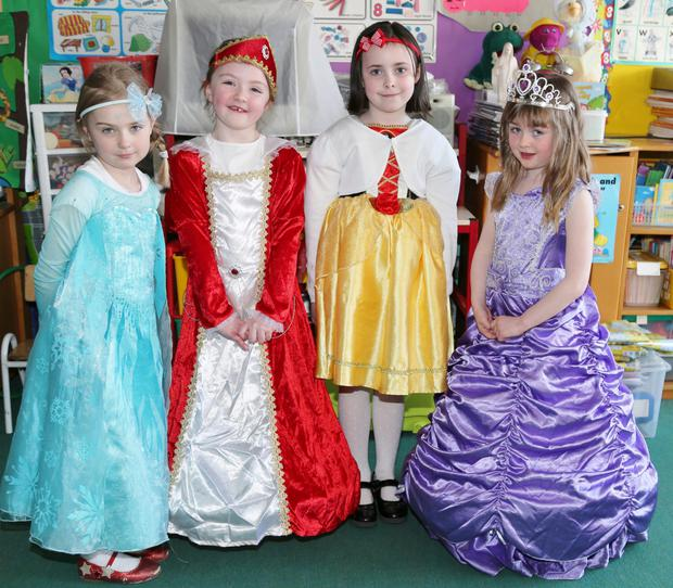Aisling Cronin, Cara Fleming, Brianne Herlihy and Ciara Mason all dressed up for World Book Day at Boherbue National School