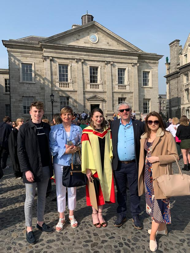 Dr Amy Lynes of Freemount, Charleville, pictured with her family at her graduation in Trinity College Dublin recently