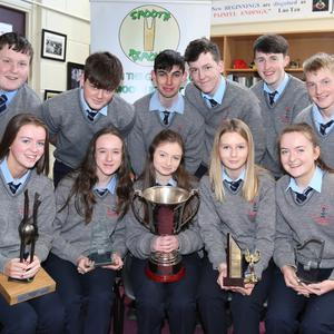 There were smiles all round from the winning Boherbue Comprehensive Transition Year Students at a celebratory reception for them at school, which was attended by their parents, teachers and Joan Kelleher and Kevin Curran from the Local Enterprise Office. Photo by Sheila Fitzgerald