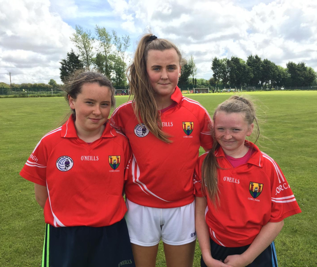 Kilshannig players Dearbhla, Kayleigh andJ ulie who played with North Cork on the Under 13 Cork Development Blitz recently