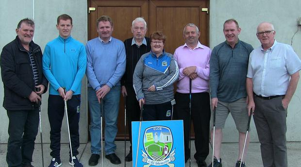 Kilbrin GAA Club members will put their Hurleys and Footballs aside for one day when they stage a Golf Classic at Kanturk Golf Course on Saturday August 31st from 9am-1pm. Pictured at the launch of the Golf Classic were Bill Cashman (Ducon – Sponsor), Stephen O'Reilly (Secretary), Sean Fitzgerald (Burtons – Sponsor), Sean McAulliffe, Margaret O'Callaghan (Chair), Mick Dennehy, Vincent Hayes and Tom O'Reilly