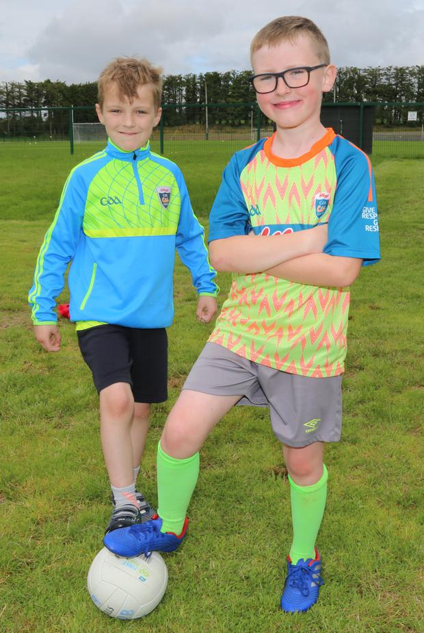 Darragh Finnegan and Dylan Murphy having fun at the Cúl Camp in Kiskeam