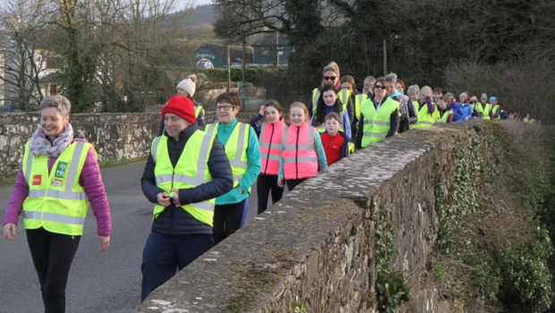 Operation Transformation walkers being led out by club volunteers in Killavullen on 1st February
