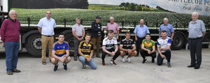 Pictured at the launch of the Castlecor Potatoes Duhallow JAFC were Fachtna O'Connor (Cullen), Conor Murphy (Castlemagner), Barry Murphy (Lyre), Jack Daly (Boherbue), Joseph Dennehy (Kiskeam) and Damien Browne (Knocknagree) along with Duhallow Junior Board Executive members Denis Lane, Steven Lynch, Liam Buckley, Ned English (Castlecor Potatoes), Joe Kearns, Tony McAulliffe, Frank Barry and Sean McAulliffe. Picture John Tarrant