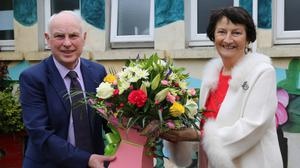 Tom Dennehy, representing the Board of Management, making a presentation to Agnes Cronin, on the occasion of her retirement from Scoil Mhuire, Kiskeam. Photos by Sheila Fitzgerald