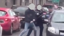 Screengrabs taken from a video of the incident on Bridge Street in Mallow on Tuesday afternoon