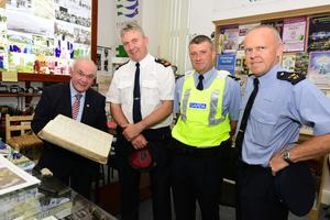 Millstreet Museum Curator Seán Radley welcomed Supt Joe Moore; Garda Reserve John Murphy and Sergeant Paul Lynch for a viewing. Millstreet Museum and Millstreet Website have initiated a GoFundMe page to raise funds to offset costs. Picture John Tarrant