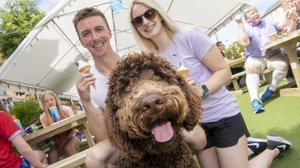 """Partners Rory Buckley and Susie O'Donnell with """"Brady Buckley"""" at the official opening of Macroom's outdoor dining space. Pics: Brian Lougheed"""